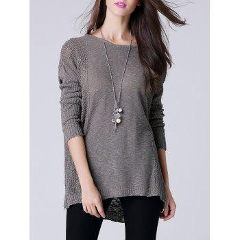 Scoop Neck manches longues femmes s 'Thin Sweater - Gris ONE SIZE