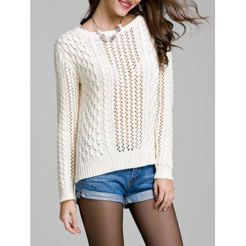 Long Sleeve Hollow Out Solid Color Sweater - WHITE L