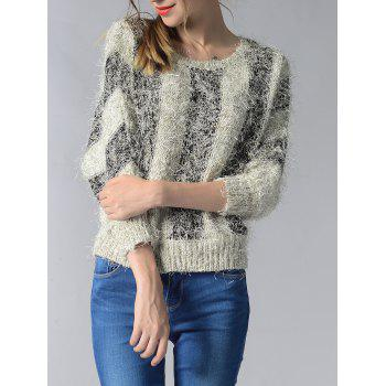 Trendy 3/4 Sleeve Hit Color Fluff Women's Sweater