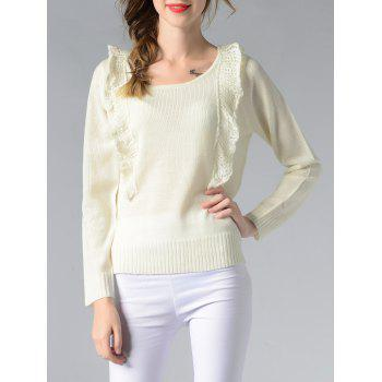 Scoop Neck Spliced Ribbed Solid Color Women s Sweater