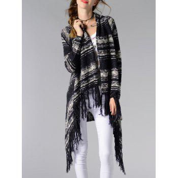 Collarless Asymmetrical Fringed Long Sleeve Kimono Cardigan