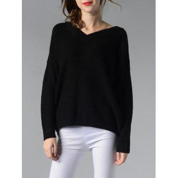 V Neck Ribbed Solid Color Women s Sweater