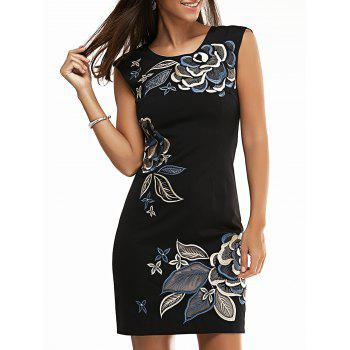 Jewel Neck Floral Embroidered Dress