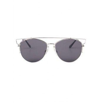 Élégant Cut Out Crossbar Pilot Sunglasses - gris
