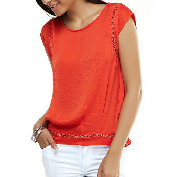 Stylish Cap Sleeve Hollow Out Blouse For Women