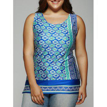 Plus Size Scoop Neck Geometric Top