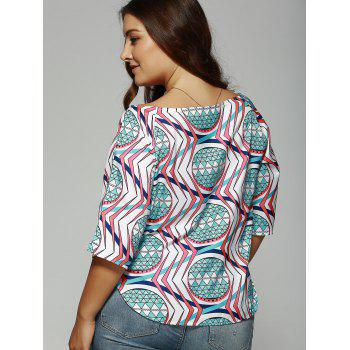 Plus Size Boat Collar 1/2 Sleeve Printed Slit Top - BLUE 4XL