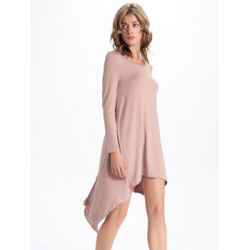 Chic Scoop Neck Asymmetrical Solid Color Women's Dress - PINK 2XL