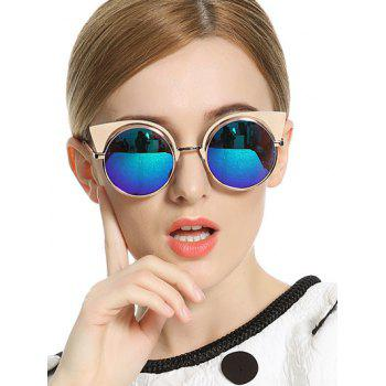 Stylish Cat Ears Round Mirrored Sunglasses