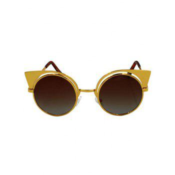 Stylish Cat Ears Round Sunglasses - TEA COLORED