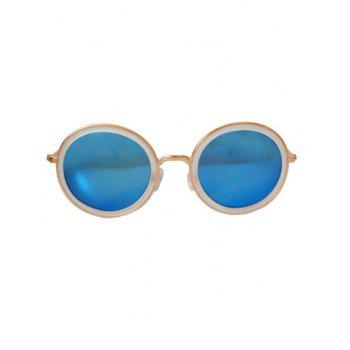 Stylish Full Frame Mirrored Round Sunglasses - BLUE