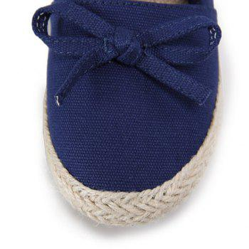 Casual Bow and Solid Color Design Women's Flat Shoes - DEEP BLUE 39