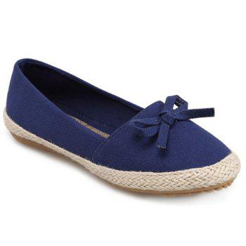 Casual Bow and Solid Color Design Women's Flat Shoes