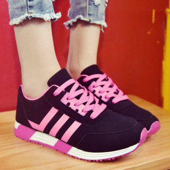 Trendy Lace-Up and Striped Design Women's Athletic Shoes