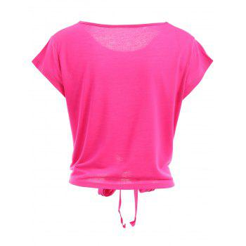 Active Scoop Neck Short Sleeve Candy Color Sport T-Shirt For Women - S S