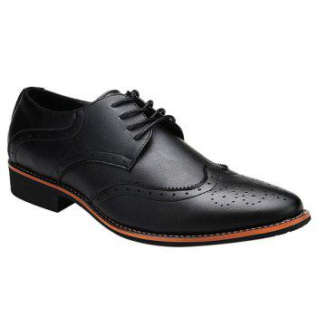 Fashion Tie Up and Wingtip Design Men's Formal Shoes - BLACK 42