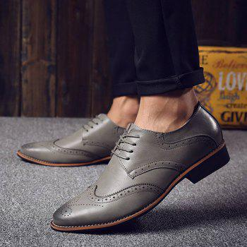 Fashion Tie Up and Wingtip Design Men's Formal Shoes - GRAY GRAY