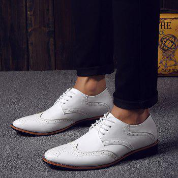 Fashion Tie Up et Wingtip Design Men's Formal Shoes - Blanc 41