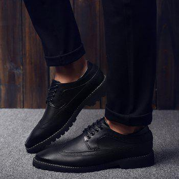 Fashionable PU Leather and Tie Up Design Men's Formal Shoes - BLACK BLACK