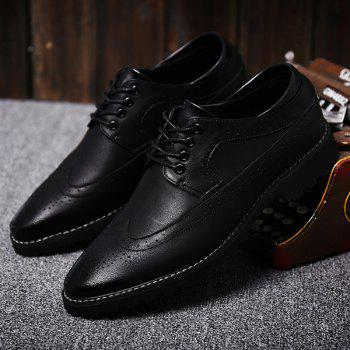 Fashionable PU Leather and Tie Up Design Men's Formal Shoes - BLACK 42