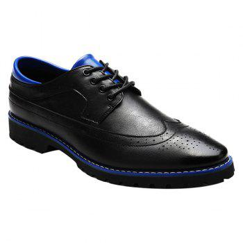 Fashionable PU Leather and Tie Up Design Men's Formal Shoes - BLUE AND BLACK BLUE/BLACK
