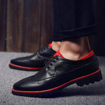 Fashionable PU Leather and Tie Up Design Men's Formal Shoes - RED/BLACK RED/BLACK