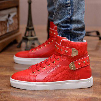 Trendy Tie Up and Metal Design Men's Casual Shoes - RED 44