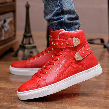 Trendy Tie Up and Metal Design Men's Casual Shoes - RED RED