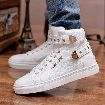 Trendy Tie Up and Metal Design Men's Casual Shoes - WHITE WHITE