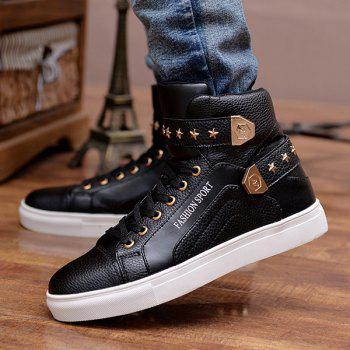 Trendy Tie Up and Metal Design Men's Casual Shoes - BLACK BLACK