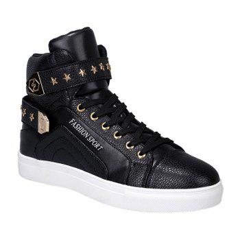 Trendy Tie Up and Metal Design Men's Casual Shoes