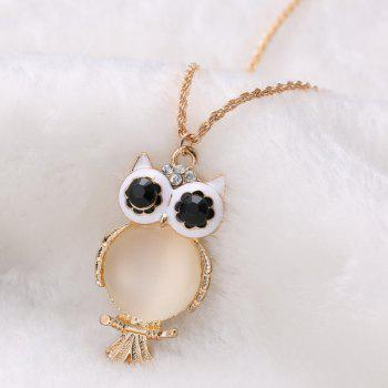 Vintage Faux Opal Owl Sweater Chain For Women - GOLDEN