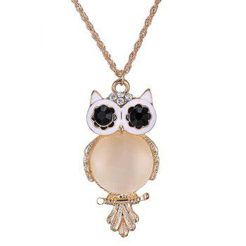 Vintage Faux Opal Owl Sweater Chain For Women