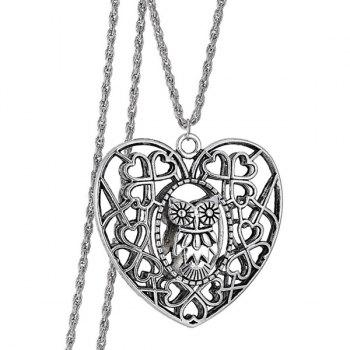 Vintage Heart Owl Sweater Chain For Women - SILVER SILVER