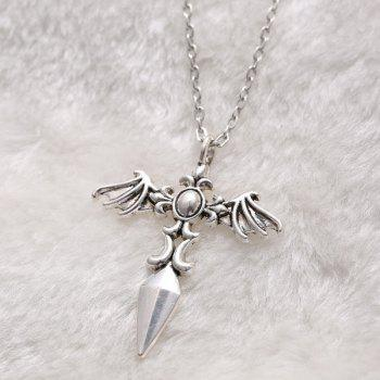 Chic Cross Wings Sweater Chain For Men - SILVER