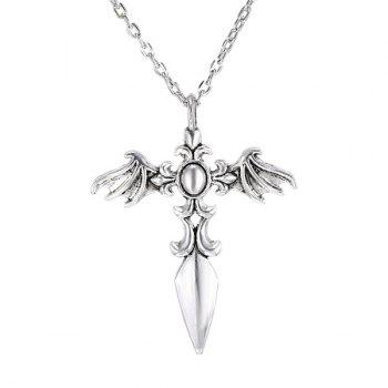 Chic Cross Wings Sweater Chain For Men - SILVER SILVER