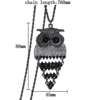 Trendy Alloy Owl Sweater Chain For Women -  BLACK