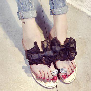 Sweet Bow and Rhinestone Design Women's Slippers