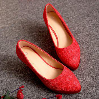 Stylish Lace and Red Design Women's Wedge Shoes - RED 39