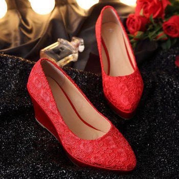 Stylish Lace and Red Design Women's Wedge Shoes - RED RED