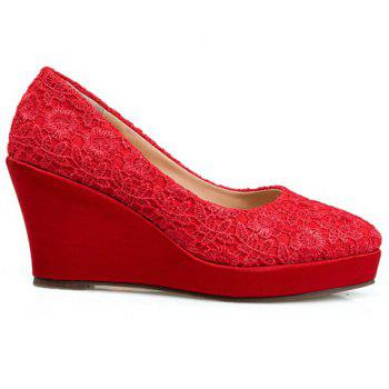 Stylish Lace and Red Design Women's Wedge Shoes - 37 37