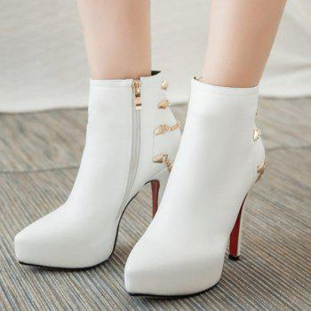 Chic Platform and Chains Design Women's Short Boots - WHITE 37