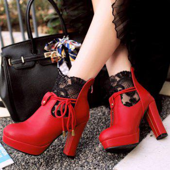 Chic Chunky Heel and Splicing Design Women's Short Boots - RED 39