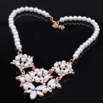 Faux Pearl Flower Cut Out Pendant Necklace