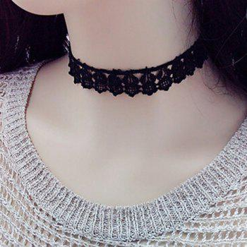 Rock Style Black Lace Cut Out Sunflower Collier ras du cou pour les femmes