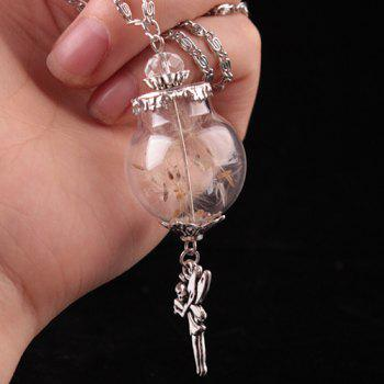 Dandelion Glass Cover Rhinestone Angel Pendant Necklace