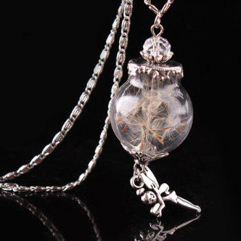Dandelion Glass Cover Rhinestone Angel Pendant Necklace - SILVER