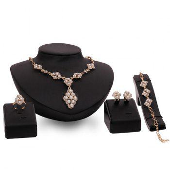 Retro Tiered Rose Gold Faux Pearl Rhinestone Necklace Set Women