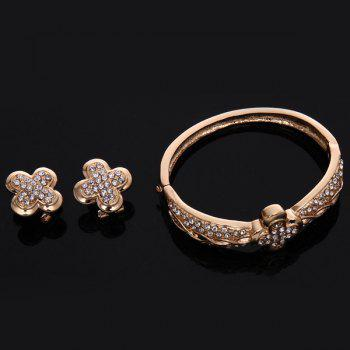 Gold Plated Clover Rhinestone Cut Out Infinity Necklace Set - ROSE GOLD
