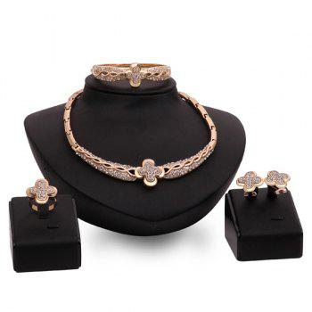 Gold Plated Clover Rhinestone Cut Out Infinity Necklace Set